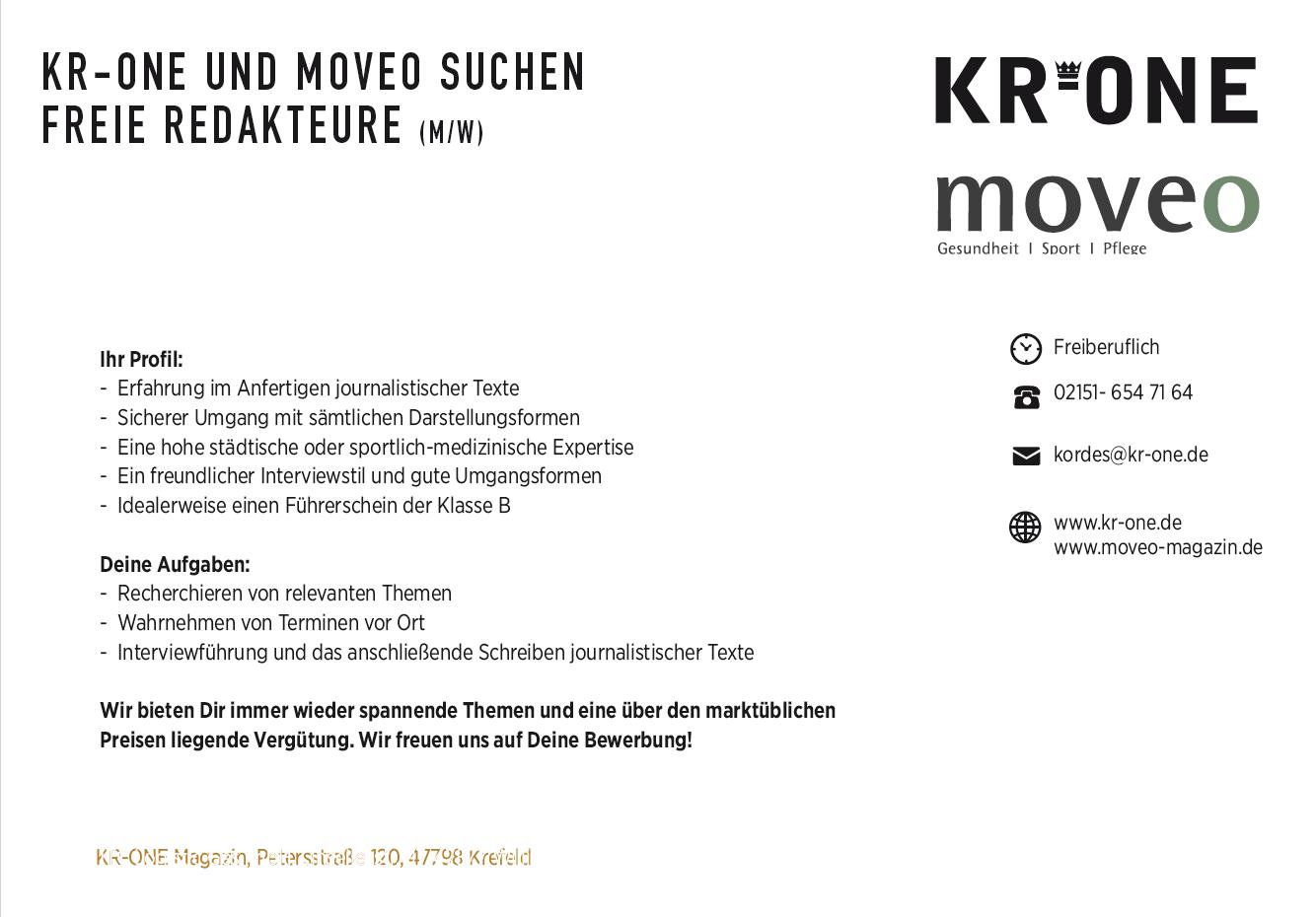 KR-ONE und moveo,KR-ONE Jobs , Febuar2018, Freie Mitarbeiter