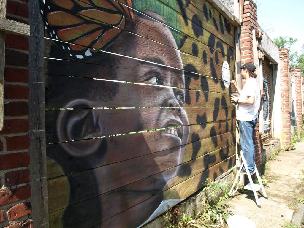 Street Art, Mädchen, Hauswand, Holz