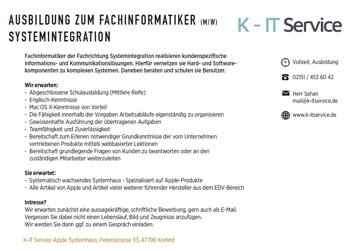 K-IT service,KR-ONE Jobs , Ausbildungsplatz, Febuar2018