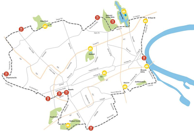 Krefeld erkunden auf zwei Rädern, Grafik: Carolin Seel