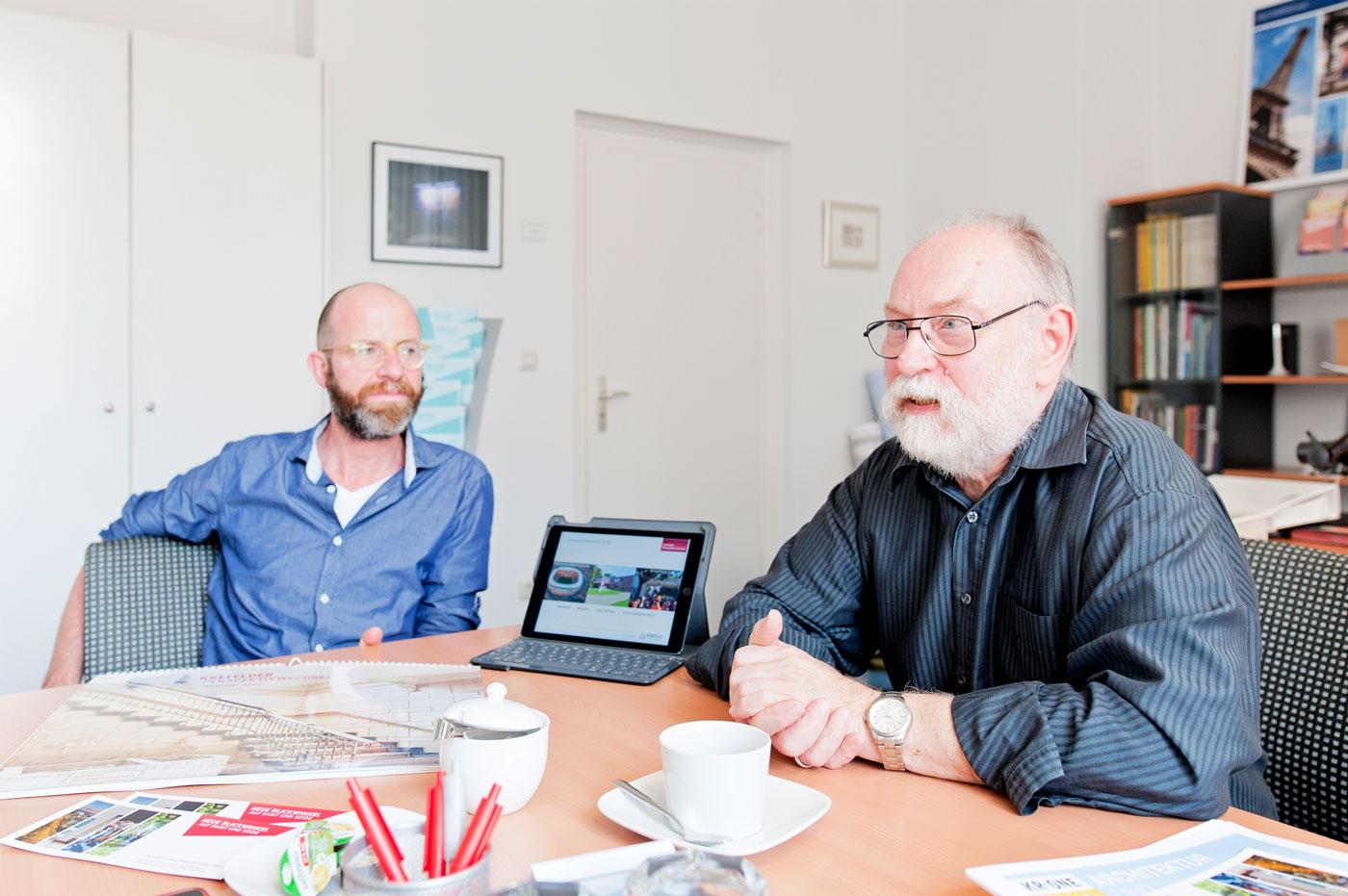 Krefelder Perspektivwechsel - Ulrich Cloos, Leiter des Stadtmarketings Krefeld und Manfred Grünwald, Vorsitzender der Arbeitsgemeinschaft Krefelder Bürgervereine